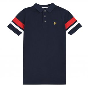 Lyle & Scott contrast band polo shirt navy blazer