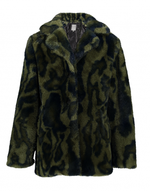 Geisha long coat printed fur