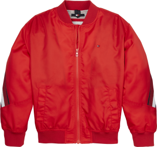 Tommy Hilfiger Global stripe taped bomber red