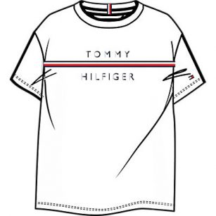 Tommy Hilfiger flag tape tee white