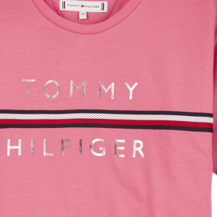 Tommy Hilfiger flag tape tee pink