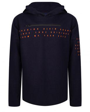 Indian Blue t-shirt LS hooded zip