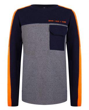 Indian Blue LS pocket grijs