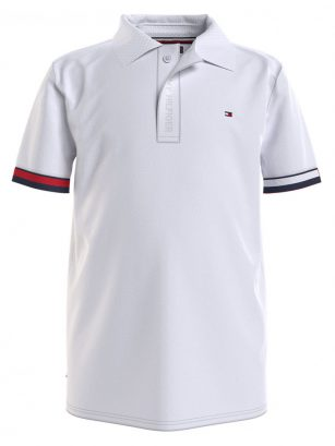 Tommy Hilfiger Global rib cuff polo White