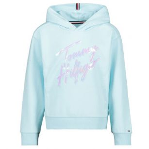Tommy Hilfiger Script Print Hoodie Frost Blue