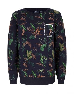 Indian Blue Crewneck all over Leaves
