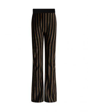 Indian Blue velvet stripe flare pants